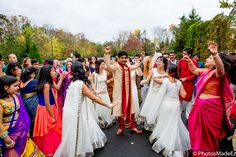 Baraat for Hindu Wedding at the Imperia in Somerset New Jersey conducted by DJ Raj Minocha from DJ Sunny Entertainment - Manisha and Anand - mixed wedding - South Indian Bride and North Indian Groom.  Best Wedding Photographer PhotosMadeEz. Award Winning Photographer Mou Mukherjee - #reddy2mohan  Featured in Maharani Weddings.