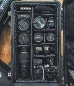 Keeping a clean and organized gear case - here are a few things I travel with to video shoots. Video production with Canon Tamron Tokina Sony Rodemic Tascam Zoom Audio and more packed neatly into a Pelican Case (Pelican 1510 to be specific). Photography Bags, Dslr Photography Tips, Photography Lessons, Photography Equipment, Wildlife Photography, Digital Photography, Landscape Photography, Portrait Photography, Wedding Photography