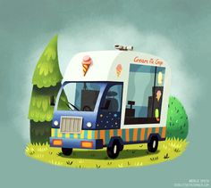 """I have a new print, Ice Cream Van"""", available over at Society6 and good news! This weekend theres free shipping, so nows a great time to pick one up."""