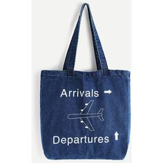 Airplane Print Denim Tote Shopper Bag (43 BAM) via Polyvore featuring bags, handbags, tote bags, tote purses, denim purse, print tote, shopping bag and pattern tote bag