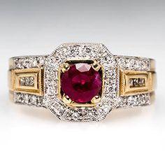 Ruby ring w diamond 14K gold