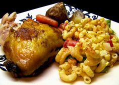 Roasted Chicken Quarters and Macaroni Salad