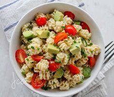 Pasta Salad  with avocado and grape tomatoes