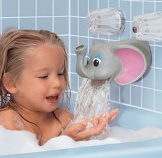 This elephant bubble bath dispenser will make bath time so much fun! This soft bubble bath dispenser fits over standard metal faucets, acting as protective cover helping to prevent bath time injuries. Add bubbles to the elephant's trunk and you're all set!