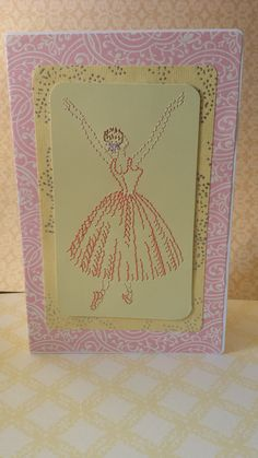 Ballerina card. Embroidered dancer by BarleyCreations on Etsy, $5.75