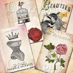 VINTAGE COLLAGE NOTECARDS, aceo atc, Digital collage sheets, Victorian notecards, 4 designs, embelished with victorian illustrations