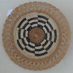 Native American Indian Hupa Area Basket Woven Plaque Circa 1930's