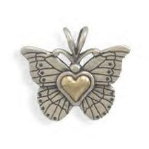 """This """"Heart of Gold"""" butterfly pendant is a solid genuine .925 sterling silver butterfly pendant with a 14 karat gold :Heart of Gold"""" center,"""