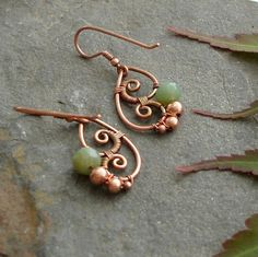 Copper wire earrings. Idea photo only.