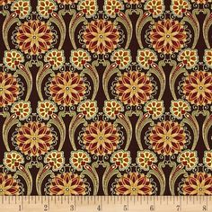 Timeless Treasures Kyoto Blossoms Metallic Floral Medallion Wine from @fabricdotcom  Designed by Chong-A Hwang for Timeless Treasures, this cotton print fabric is perfect for quilting, apparel and home decor accents. Colors include rust, green, cream and cranberry.