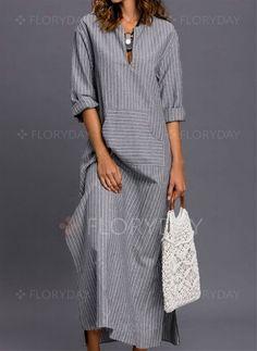 Stripe Pockets Sleeves Maxi Shift Dress Dress – Striped Sleeves and Maxi Dress Linen Dresses, Modest Dresses, Casual Dresses, Maxi Dresses, Casual Outfits, Wedding Dresses, Hijab Fashion, Boho Fashion, Fashion Dresses