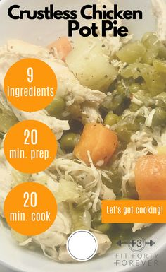 This Zero-Point Crustless Chicken Pot Pie is true comfort food without the calories from a crust. Low Sugar Recipes, No Sugar Foods, Light Recipes, Healthy Recipes, Healthy Meals, Crusted Chicken, Weight Watchers Meals