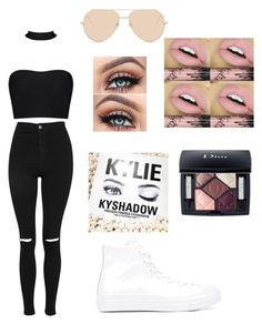 """""""Go to school ."""" by gisselleotero on Polyvore featuring Linda Farrow, Topshop, Kylie Cosmetics and Converse"""