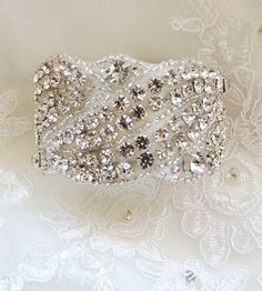 TH-116 Wedding Bridal Rhinestones Crystal Bracelet Cuff with Ribbon Closure