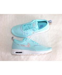 f8738b0120f Nike Air Max Thea Trainers In Blue White with Swarovski Crystals Nike Air  Max For Women