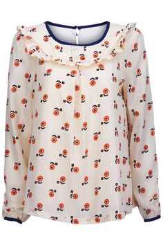 "Loose ""Flower"" Apricot Blouse"