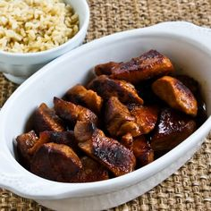 Recipe for Pork Adobo; I'm not sure this recipe is completely authentic like it's made in the Phillipines, but it's delicious. [from Kalyn's Kitchen] #GlutenFree  #LowCarb  #SouthBeachDiet