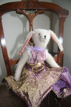Fluffy Rabbit, Purple Fabric, Rabbit Toys, Love Charms, Bears, Kids Outfits, Wool, Antiques, Pink