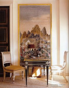Inspiration for design with tall framed antique wallpaper scenes from STUDIO ANNETTA: Thomas Hamel Antique Wallpaper, Framed Wallpaper, Interior And Exterior, Interior Design, Living In England, Design Fails, Apartment Chic, Lounge, City Living