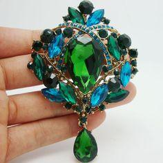 Aliexpress.com: Koop Vintage bloem bloemen traan broche pin green kristal kristal hanger van betrouwbare hanger wrap leveranciers op TTjewelry