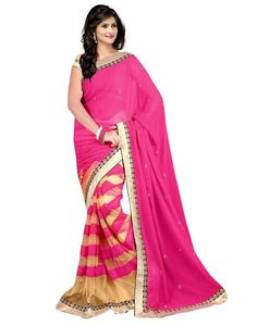 Janasya Alluring Half-Half Designer Sari With Hand Work In Pink|Saree|Ethnic Wear