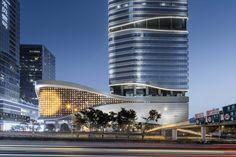 Gallery of SHUIBEI International Center / Aedas - 5 Mall Facade, Retail Facade, Architecture Concept Diagram, Facade Architecture, Commercial Architecture, Commercial Complex, Mall Design, Urban Park, High Rise Building