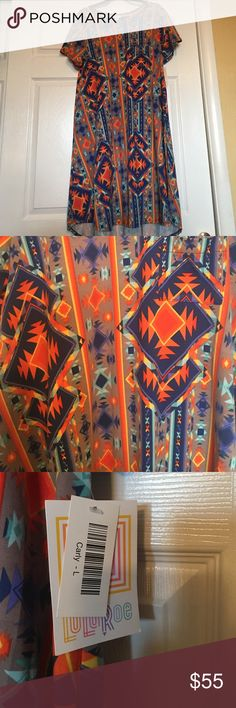 NWT LULAROE CARLY SIZE L Awesome colorful print!!  NWT SIZE L LuLaRoe Dresses High Low