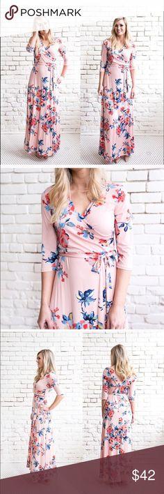 Floral Print Wrap Dress Never worn. Dresses Maxi