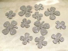 Glücksbringer, Kleeblätter, Streudeko Silber/ Glimmer 12 Stück