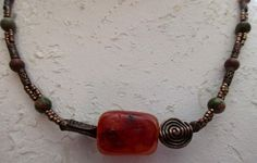 """VINTAGE ESTATE 16"""" COPPER/UNIKITE AND CAMELION BEADED NECKLACE/TOGGLE CLASP"""