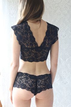 aaa41017b9 Deep V Lace bralette in black lace. Matching lingerie set from Brighton Lace .