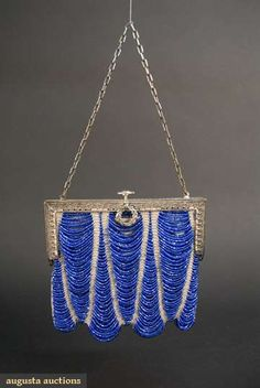 Reasonable Antique Art Deco Checker Crochet Iridescent Peacock Blue Bead Drawstring Purse Antiques