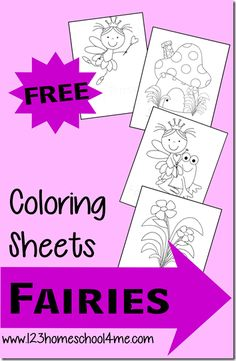 """Free Fairy Princess Coloring Sheets! Perfect for a quick """"I'm Bored"""" activity, tinkerbell fans, and more for toddlers and preschoolers. #coloringpages #tinkerbell #preschool"""