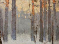 """Saatchi Online Artist: Alexander Zavarin; Oil 2013 Painting """"Sunset in Winter"""""""