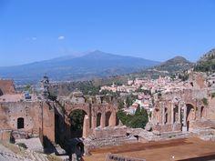 Greek Theatre, Etna Volcano, Taormina, Sicily, Italy