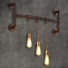 Industrial 3-Light Aged Rust Plumbing Pipe Wall Sconce & Exposed Bulb - Indoor Wall Lights - Wall Lights - Lighting