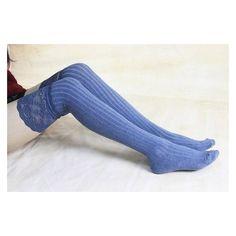 Blue Thigh High Socks Lace Trim Long Lace Socks Knee High Socks Black... ❤ liked on Polyvore featuring intimates, hosiery, socks, long thigh high socks, thigh high leg warmers, lace thigh high socks, ruffle socks and thigh high socks