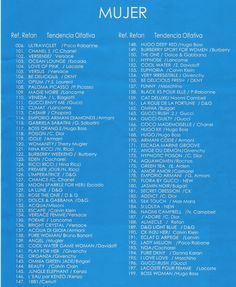 Afbeeldingsresultaat voor equivalenza lista perfumes mujer