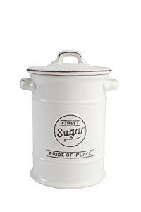 T&G Pride of Place Sugar Storage Jar Canister In White 18076: Amazon.co.uk: Kitchen & Home
