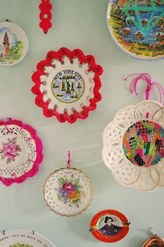 upcycled vintage porcelain plates - just crochet around the plate for a whole new look!