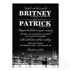Shop New York City NYC Skyline Wedding Invitations created by natureprints. Custom Invitations, Wedding Invitations, Wedding News, New York Wedding, Wedding Stuff, New York Theme Party, 40th Birthday Favors, Apple City, Party