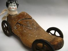 Vintage Shoe Form Race Car With China Doll Racer Head Sculpture Metal, Upcycled Vintage, Repurposed, Art Brut, Found Object Art, Junk Art, Doll Parts, Assemblage Art, Doll Head