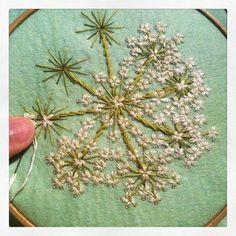"peonyandbee: ""masadonna: very tiny stitch that #white #flower part after that I'm gonna put beads them"