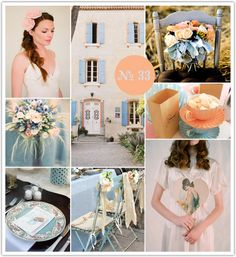 French Country Blue + Peach, french country wedding, blue and peach, blue and peach wedding