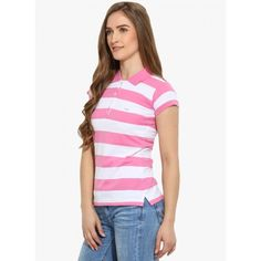 Western Wear : Buy Duke Pink Striped T Shirt Now @ Garbethe