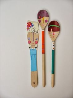 wooden folk art spoon dolls ... doll faced girls by mooshoopork