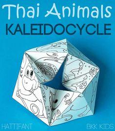 Hattifant's Thailand Bangkok Paper Toy Craft Flextangle Kaleidocycle Thai Animals Turtle Gecko Elephant Monkey