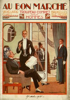 Au Bon Marche 1921 Catalogue, the man about town cocktail on small table at his side
