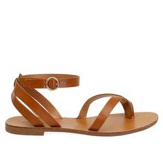 Kiera-08 Tan Strappy Toe Ring Leatherette Cross Back Ankle Strap Sandals