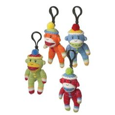 "12 Genuine Monkeez Multi-Colored Clip-On Plush Sock Monkey Stuffed Animals 6"" by CC Home Furnishings. $75.99. Clip-On Plush Sock MonkeysItem #978924Officially licensed merchandiseAdorable multi-color striped plush sock monkeys are each bundled up in a matching knit capEach come ready-to-hang on black clipsRecommended for ages 3 and upDimensions: 6""H x 2""W x 1.5""DMaterial(s): acrylic yarn/plasticPack of 12 - includes 3 of each figure shown"